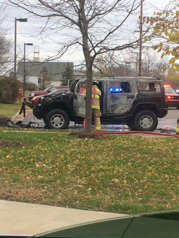 Hummer Catches On Fire In Pinckney