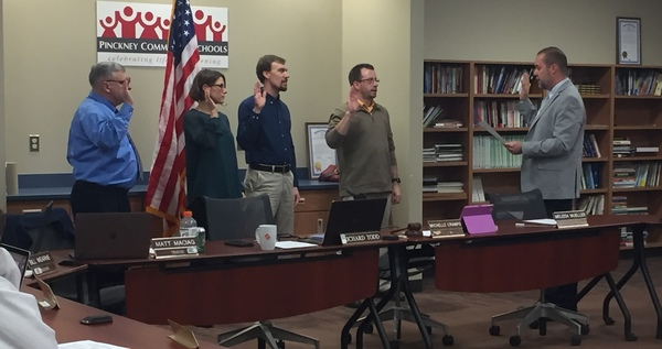 Pinckney Board of Education Swears In New Members, Elects Officers